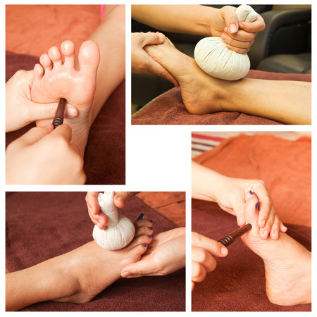 traditional healer: Collection of reflexology foot massage