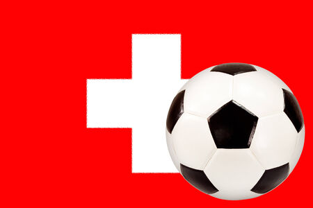 cross match: soccer ball with Switzerland flag background
