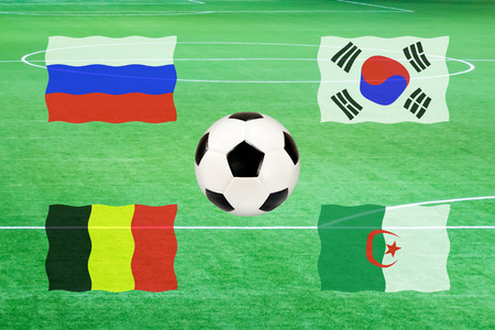 flag of group H soccer world cup 2014 ( football ) on green soccer field background photo