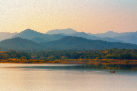 durty: oil painting of beautiful reservoir with fisherman and mountain background Stock Photo