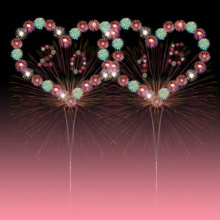 0 1 year: New Year Concept,heart fireworks New Year 2015