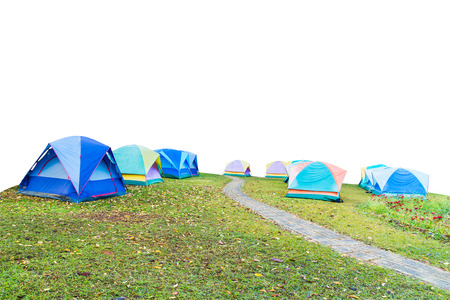 group of tourist tent isolated on white  版權商用圖片
