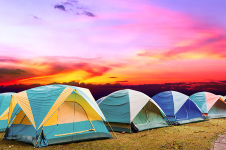 non urban: tourist tent with beautiful sunset background