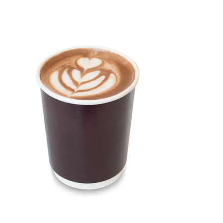 latte art coffee with heart figure and leave on, in take away paper glass isolated on white background with clipping path