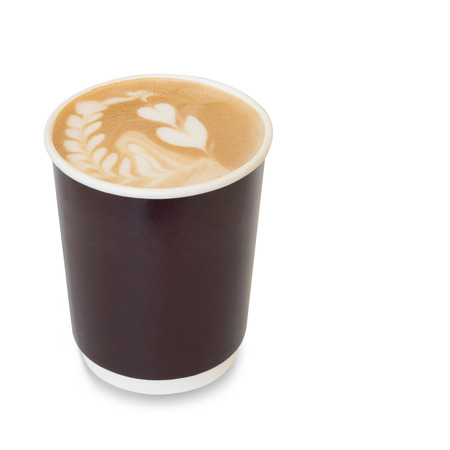 glass paper: latte art coffee with heart figure and leave on, in take away paper glass isolated on white background with clipping path