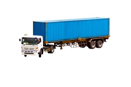 container box: Container box on truck isolated on white background with clipping path