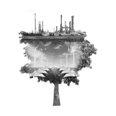 exposure: double exposure of tree used for carbon credits concept Stock Photo