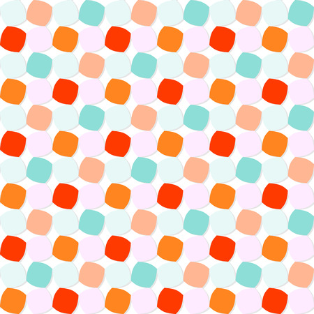 rounded squares: Abstract geometric pattern with orange, blue, and pink shaded rounded squares on white background. Seamless repeat. Illustration
