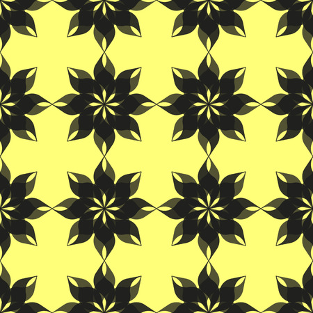 semitransparent: Abstract pattern of stylized semitransparent black eight-petal flowers on yellow background. Seamless repeat.