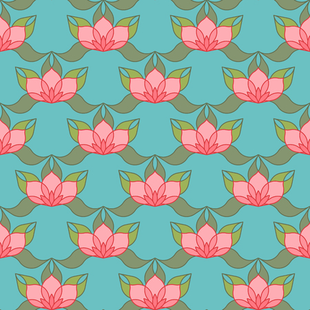 allover: Pink stylized lotus flowers on light blue background. Seamless repeat. Illustration