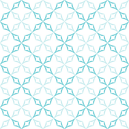 allover: Abstract geometric pattern. Trellis of light blue curved diamonds on white background. Seamless repeat.