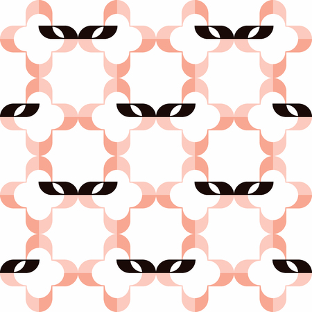 costume ball: Pattern of stylized masks and pink qua-trefoils on white background. Seamless repeat.