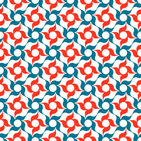 allover: Arabesque lattice of stylized red and blue four-petal flowers on white background. Seamless repeat.