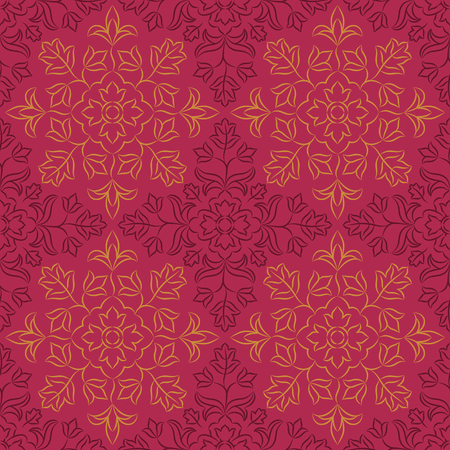 Traditional Indian pattern with round floral elements. Golden and dark purple motifs on purple background. Seamless repeat.