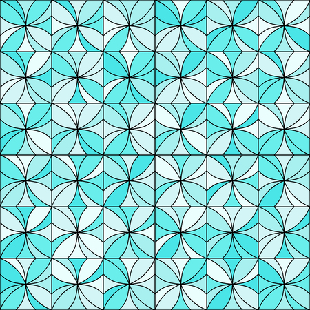 allover: Abstract floral mosaic background. Stylized flowers randomly colored in shades of light blue with black outline. Seamless repeat. Illustration