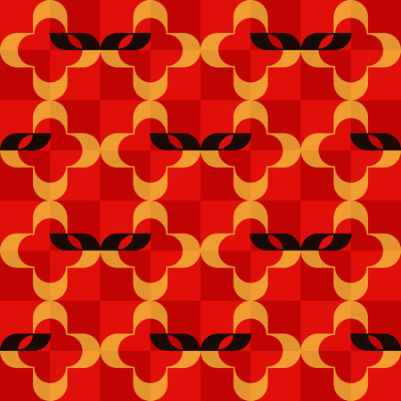operetta: Pattern of stylized masks and golden quatrefoils on checkered red background. Seamless repeat.