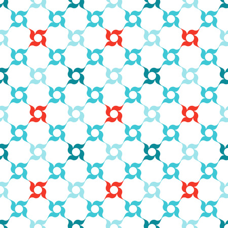 Arabesque lattice of stylized red and blue four-petal flowers on white background. Seamless repeat.