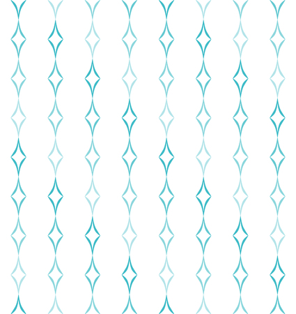 allover: Abstract geometric pattern of light blue curved diamonds set in vertical stripes on white background. Seamless repeat.