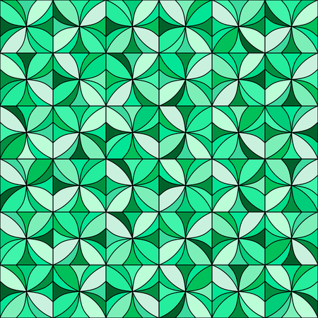 allover: Abstract floral mosaic background. Stylized flowers randomly colored in shades of green with black outline. Seamless repeat.