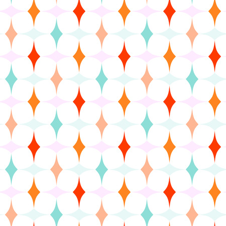 allover: Abstract geometric pattern with orange, blue, and pink curved diamonds on white background. Seamless repeat. Illustration