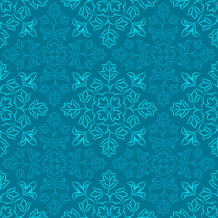 Traditional Indian pattern with round floral elements in shades of blue. Seamless repeat.