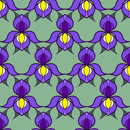 allover: Colorful stylized iris flowers on green background. Seamless repeat. Illustration