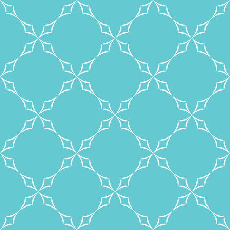 trellis: Abstract geometric pattern. Trellis of white curved diamonds on light blue background. Seamless repeat. Illustration