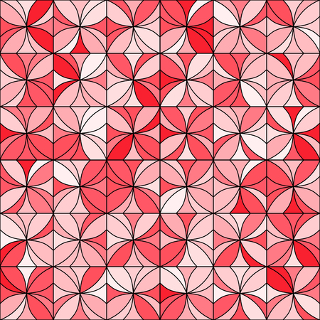 allover: Abstract floral mosaic background. Stylized flowers randomly colored in shades of red with black outline. Seamless repeat.
