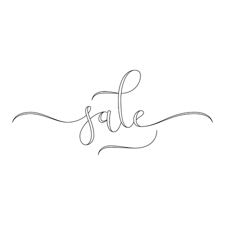 flourished: Sale hand lettering, modern calligraphy style. Outlined hand-drawn letters isolated on white background. Vector illustration. Illustration
