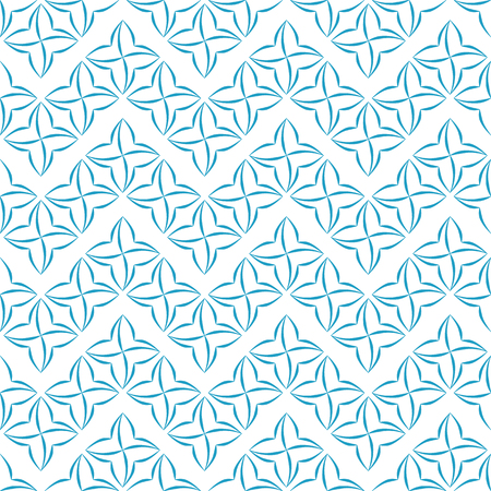 allover: Pattern of blue stylized four-petal flowers set in horizontal zigzags on white background. Seamless repeat.