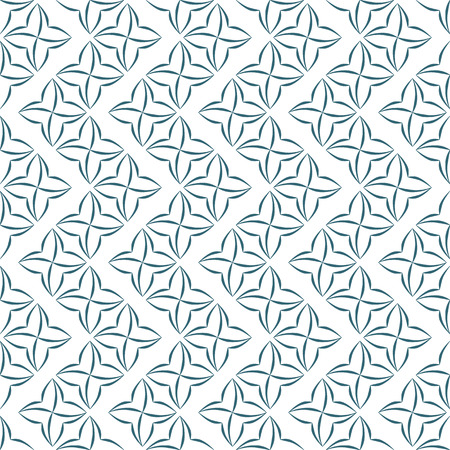 allover: Pattern of stylized four-petal flowers set in vertical zigzags on white background. Seamless repeat.