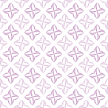 allover: Grid pattern of violet stylized four-petal flowers on white background. Seamless repeat.