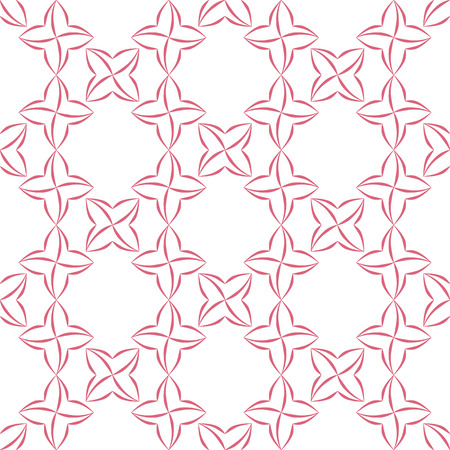 latticed: Trellis pattern of pink stylized four-petal flowers on white background. Seamless repeat. Illustration