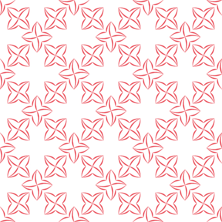 trellis: Trellis pattern of pink stylized four-petal flowers on white background. Seamless repeat. Illustration