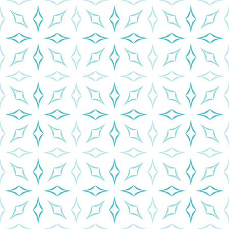 allover: Abstract geometric pattern of light blue curved diamonds set in sunburst-like shapes on white background. Seamless repeat.