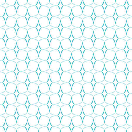 allover: Abstract geometric pattern of light blue curved diamonds set horizontally and vertically on white background. Seamless repeat. Illustration