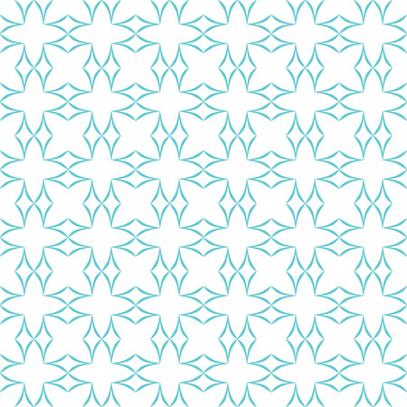 allover: Abstract geometric pattern. Lattice of light blue curved diamonds on white background. Seamless repeat. Illustration