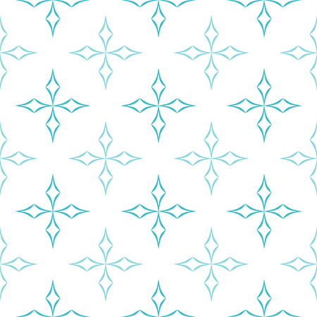 starlike: Abstract geometric pattern of light blue curved diamonds set in cross-like shapes on white background. Seamless repeat.