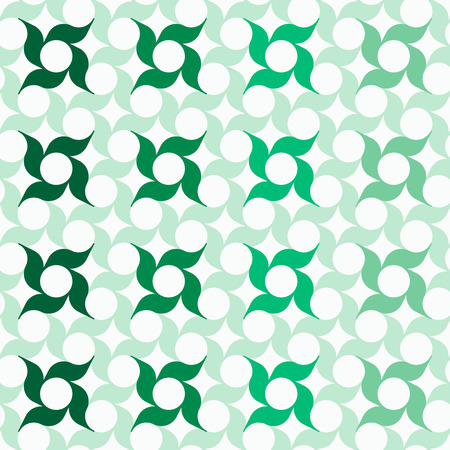 allover: Abstract background with regular pattern of stylized pinwheel-shaped flowers. Seamless repeat. Illustration