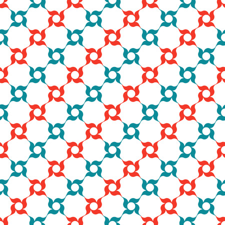 latticework: Arabesque lattice of stylized red and blue four-petal flowers on white background. Seamless repeat.