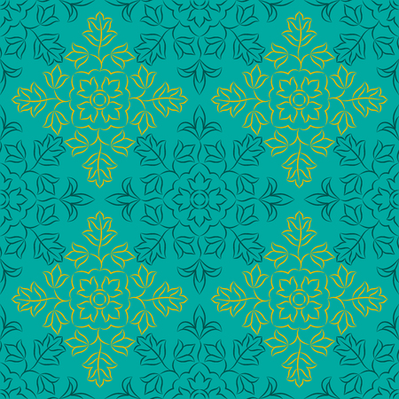 allover: Traditional Indian pattern with round floral elements. Golden and dark turquoise elements on turquoise background. Seamless repeat.