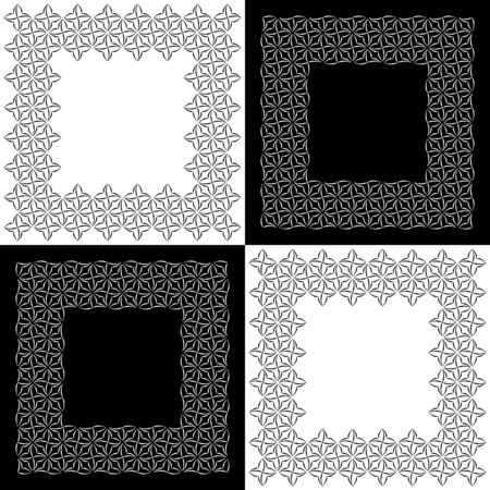 cutwork: Set of four square lacy frames with stylized four-petal floral motifs for border design. Vector ornamental background with place for text. Graphic design elements. Illustration