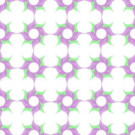 semitransparent: Trellis pattern of semitransparent violet twirled flowers with leaves on white background. Vector seamless repeat.