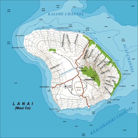 Detailed large-scale topographic map of Lanai Island, Hawaii, with contour lines at 200-foot intervals. Vector illustration, editable, fully layered. Can be used as a base for creating thematic maps.