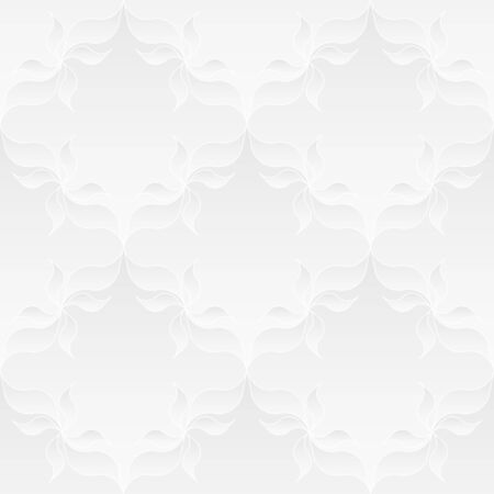 tessellate: Neutral white texture. Decorative background with 3d pleated paper effect. Vector seamless repeating pattern with floral elements.