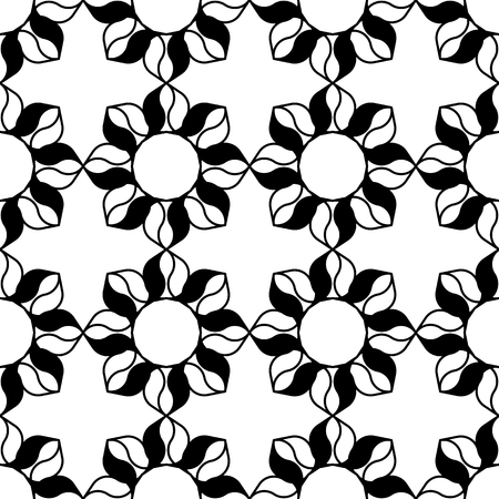 Black and white background. Regular pattern with stylized floral elements. Vector seamless repeat.