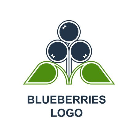 Blueberries or bilberries with leaves logotype design concept in minimalist style. Wild forest berries symbol template. Vector design element isolated on white background. Illustration