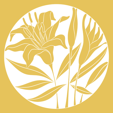 Floral composition in a circle with a golden contours of a lily flower, buds and leaves on white background. Can be used as a print for textile, tableware, ceramic tiles, or other home decor items. Vector illustration.