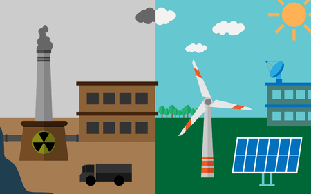 Feel the difference between good ecology and polluted atmosphere Stock Illustratie