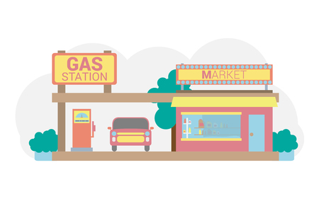 Filling station in pastel colors. Fuel for cars Иллюстрация